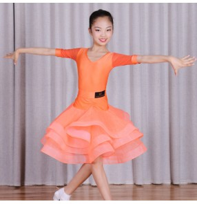 Girls kids children orange colored ballroom latin dance dresses stage performance costumes dress