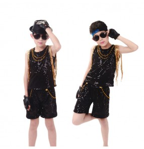 Boy black with gold sequin fringes jazz dance costumes street hiphop drummer school competition model show stage performance costumes