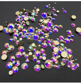 Crystal rhinestones mix size AB glitter colored flat back without glue phone shell smart phone case nail beauty shoes bag diamond accessories 200pcs 1.5 to 6.5mm