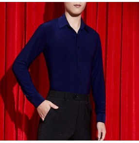 Navy blue colored men's ballroom latin dance shirts male waltz tango shirts stage performance salsa samba chacha dance tops shirts