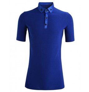 Men's competition ballroom latin dance t shirts short sleeves royal blue tango chacha salsa dance tops shirts