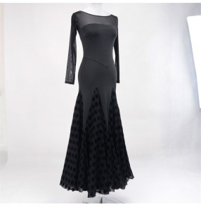 Women's black with polka dot ballroom competition dance dresses flamenco waltz tango dance dresses