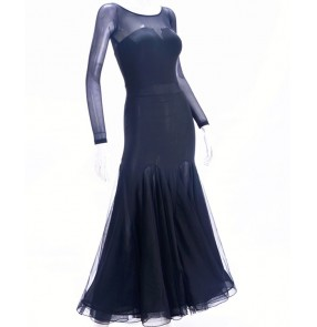 Women's black competition ballroom dancing dresses stage performance professional waltz tango dance dresses costumes