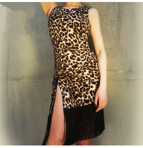 Women's girls leopard printed sexy latin dance dresses salsa rumba chacha dance dress costumes