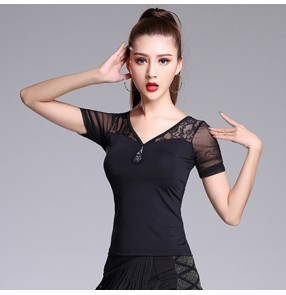 Women's black colored ballroom dance tops female stage performance latin dance blouses shirts
