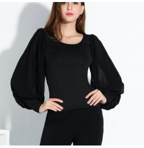 Women's ballroom dance latin dance blouse batwing sleeves tops stage performance tops shirts