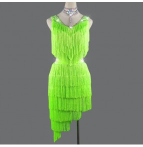 Women's neon green tassels competition rhythm salsa latin dance dress