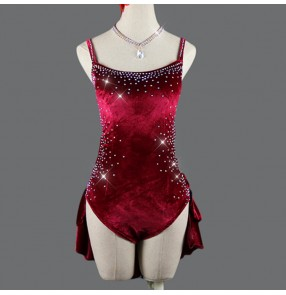 Women girls wine diamond competition velvet latin dresses salsa dress