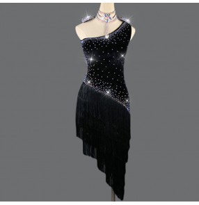 Women's black velvet diamond tassels latin dance dresses