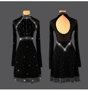 Women's diamond black long sleeves competition latin dance dresses