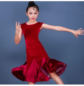 Girls red velvet competition under knee length latin dance dresses