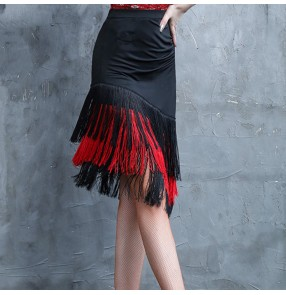 Women's black with red tassels competition latin dance skirts