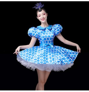 Women girls blue polka dot modern dance dresses  singers dancers dress