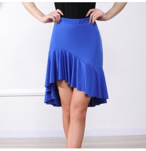 Women's black blue latin dance skirts salsa samba chacha dance skirts
