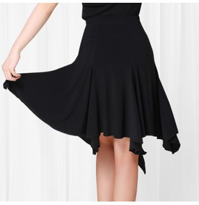 Women's black fringes irregular hem latin dance skirts salsa samba dance skirts