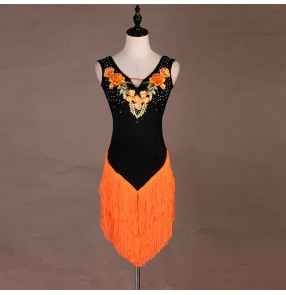 Women's girls black orange tassels competition latin dance dress salsa dress