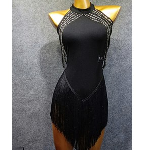 Women's black tassels sexy latin dance dress salsa samba rumba dress