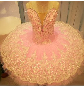 Girls kids swan lake classical ballerina ballet dance dresses tutu pancake skirts
