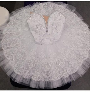 Girls kids white ballet dance dress tutu skirts classical ballerina pancake ballet dress