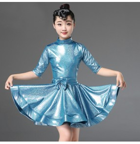 Girls kids glitter competition ballroom latin dance dresses