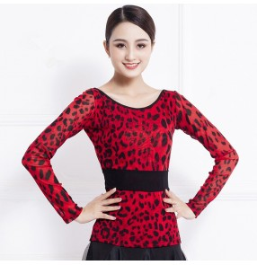 women's Red leopard ballroom dancing tops latin dance shirts blouses