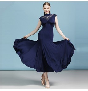 Women's navy lace ballroom dancing dresses stage performance waltz tango dance dresses