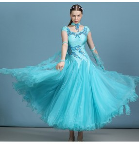 Women's blue white competition ballroom dancing dresses waltz tango long length dresses