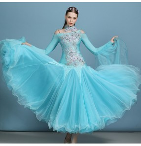 Women's turquoise embroidered competition ballroom dancing dresses waltz tango performance dresses