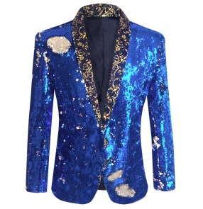 Men's royal blue sequin jazz dance singers host performance blazers coats night club bar dance jacket
