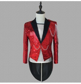 Men's male silver gold jazz singers dance tuxedo coats musical band magician host group dancers stage performance coats