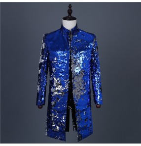 Men's royal blue gold sequin jazz dance long coats host singers magician musical band drummer stage performance long jackets