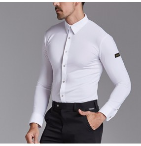 Men's white black latin dance shirts competition ballroom flamenco waltz tango dance tops shirt