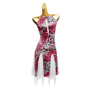 Brown pink leopard women fringes latin dance dresses stage performance rhythm salsa dance dress