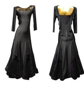 Women's black lace ballroom dancing dresses flamenco waltz tango dance dress