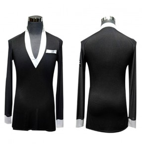 Men's black with white latin dance shirts ballroom waltz tango chacha dance tops shirts