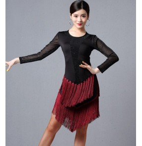 Fringe latin dance dresses black with wine dark green stage performance rumba salsa chacha dance dresses