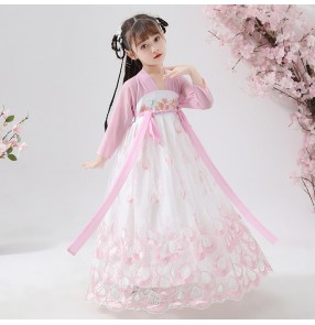 Girls children chinese folk dance dress hanfu anime drama cosplay fairy dresses stage performance party dress