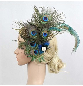 Women's girls peacock feather headdress stage performance drama cosplay photos feather hair accessories