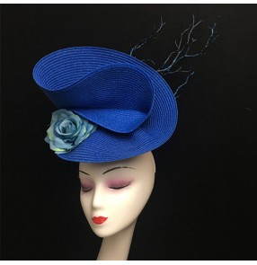 Women's royal blue stage performance model show pillbox hat headdress