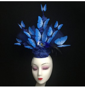 Women's royal blue headdress banquet pillbox hats butterfly singers host model show hair accessories
