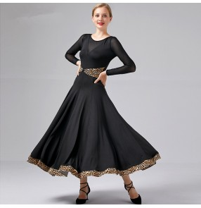 Women's black red ballroom dancing dresses stage performance waltz tango foxtrot dance dress