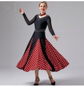 Women's polka dot ballroom dancing dresses female waltz tango fox trot dance dress costumes