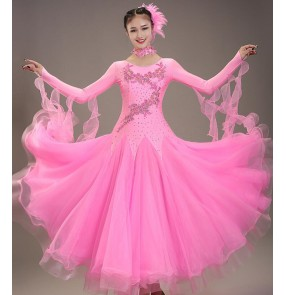 Women's light pink ballroom dancing dresses waltz tango dance dresses