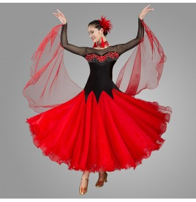Women's balck with red competition ballroom dancing dresses waltz tango dancing dresses