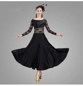 Women's lace black red ballroom dancing dress waltz tango foxtrot dance dress