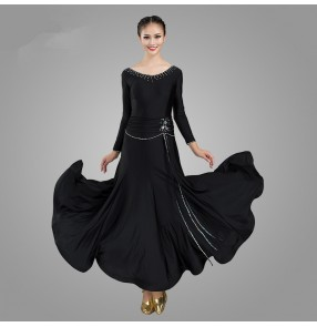 Women's royal blue black ballroom dancing dresses stage performance waltz tango foxtrot dance dress
