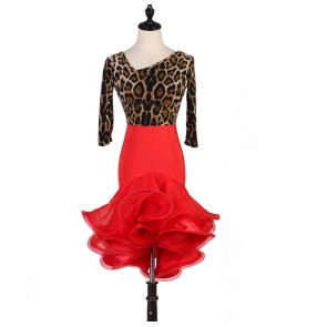 Women's leopard with red latin dance dresses salsa chacha rumba dance dresses