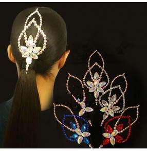 Women's rhinestones headdress stage performance ballroom waltz tango dance hair accessories