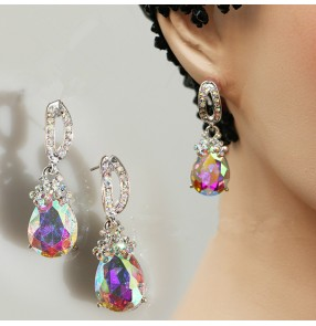 Women's rhinestones ballroom waltz tango dance earrings eardrop one pair