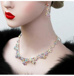 Women's competition ballroom latin dance diamond necklace and earrings
